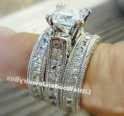 Real .925 Sterling Silver 3pc Engagement Ring Wedding Band S