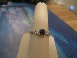 RING, Peora, Sim Blue Sapphire Sterling Silver Round Size 9,
