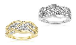 NATALIA DRAKE S. SILVER OR YELLOW GOLD PLATED DIAMOND ACCENT