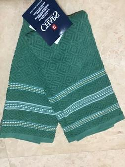 CHAPS HOME SET OF 2 KITCHEN TOWELS TEAL  DOTTED DIAMOND  NWT