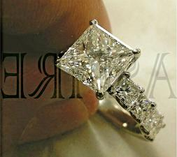 Solid 14k white Gold 3.45 ct Princess cut Solitaire Diamond