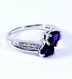 Sterling Silver .925 Diamond Accent Genuine Amethyst 2 Heart