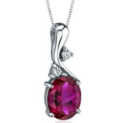sterling silver 925 rhodium plated ruby pendant