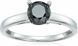 Sterling Silver Enhanced Black Round Diamond Solitaire Ring