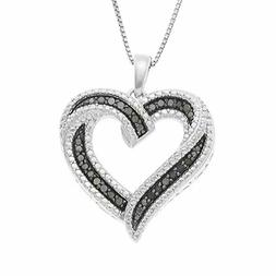 Sterling Silver Heart With Crystals Pendant Necklace Birthda