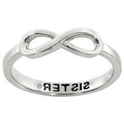 """JewelMore Sterling Silver Infinity """"Sister"""" Diamond Accent W"""