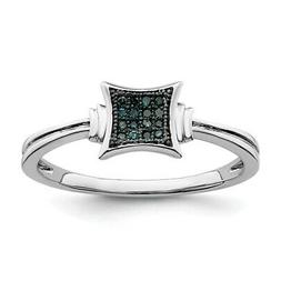 Sterling Silver Rhod Plated White/Blue Diamonds Square Ring