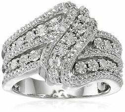 Amazon Collection Sterling Silver Size 7 Diamond Classic Twi