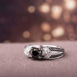 Miadora Sterling Silver with Black Rhodium 1ct TDW Black and