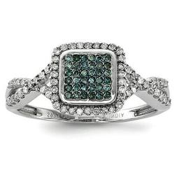 Sterling Silver with White/Blue Diamonds Square Engagement R