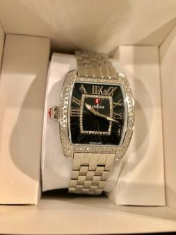 Michele Urban Mini Silver Diamond Black Ladies Watch MWW02A0