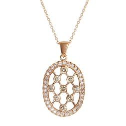 Women's Oval Shaped Pendant with Brown and White Diamonds